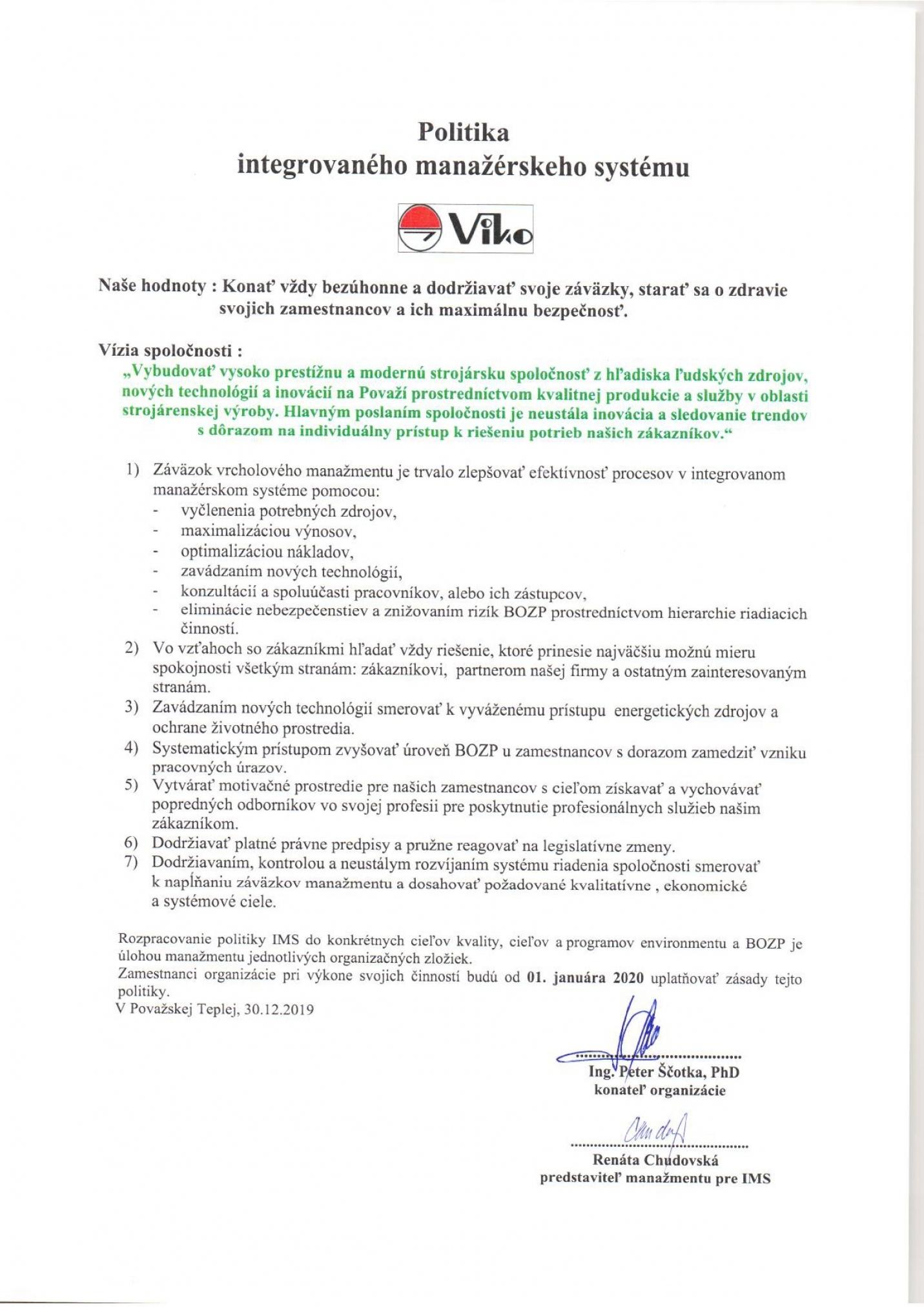 Politika kvality VIKO
